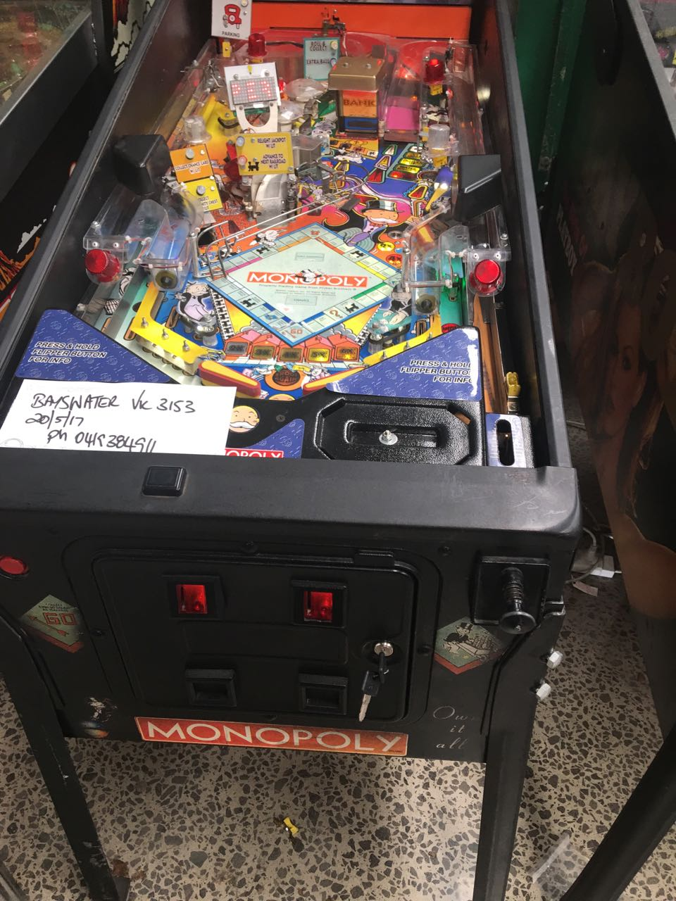monopoly pinball machine for sale